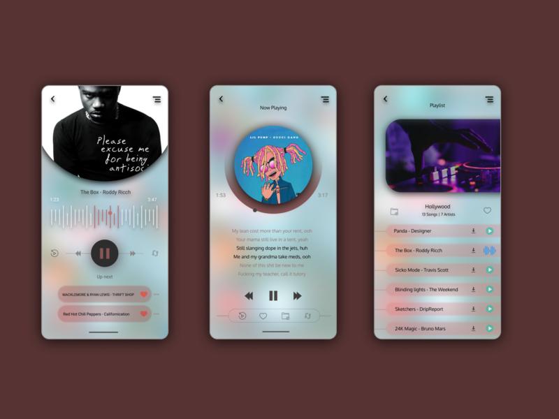 Bedim Music Player blur light music app music player music flat concept uiux ux userinterface user experience ui illustration design app