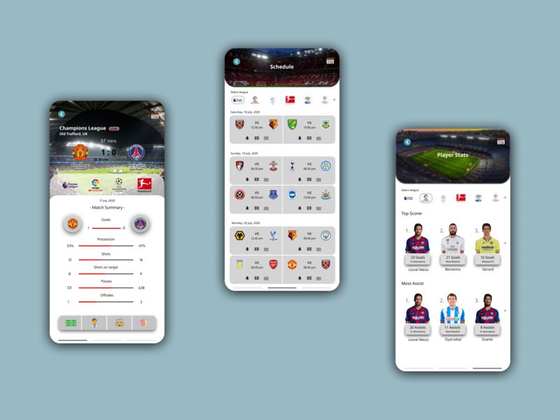 Matchday Football App sports design football app match soccer players sports football flat uiux concept ux userinterface user experience ui illustration design app