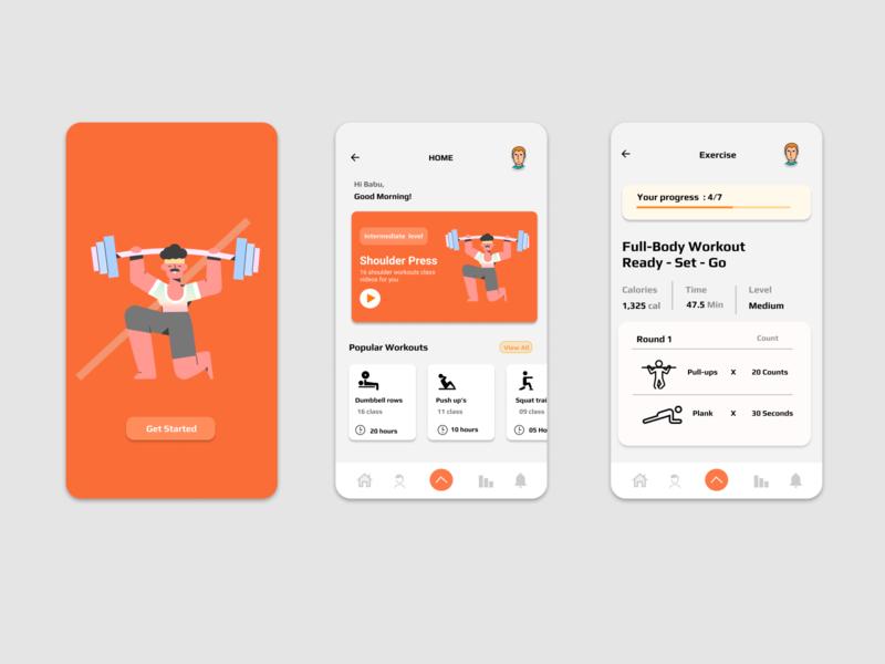 Fitness Application phone mobile uidesigner gym app gym fitness app fitness flat uiux concept ux userinterface user experience ui illustration design app