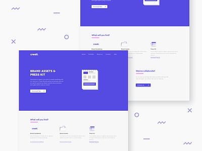 Press Kit page ui illustration white purple minimal brand assets media kit press