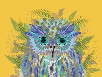 Matcha Tea Owl cup matcha mermowl mermaid blue green owl illustration grapic design design branding birds