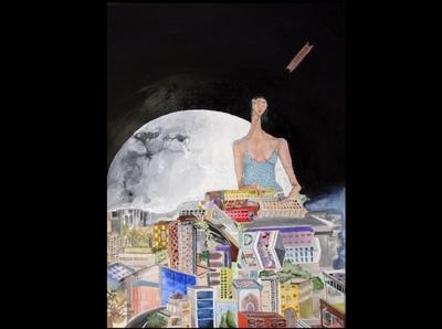 Sleepless moon mixedmedia people architecture design artforsale illustration original art dreamy contemporary artwork artist arte art