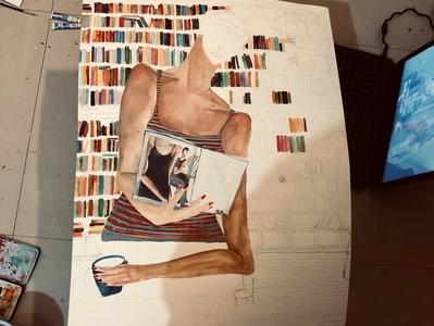 Work in progress (sleepless moon series) artist artbuyers painter fauvism magicalrealism books artforsale artwork watercolor painting design illustration dreamy contemporary art