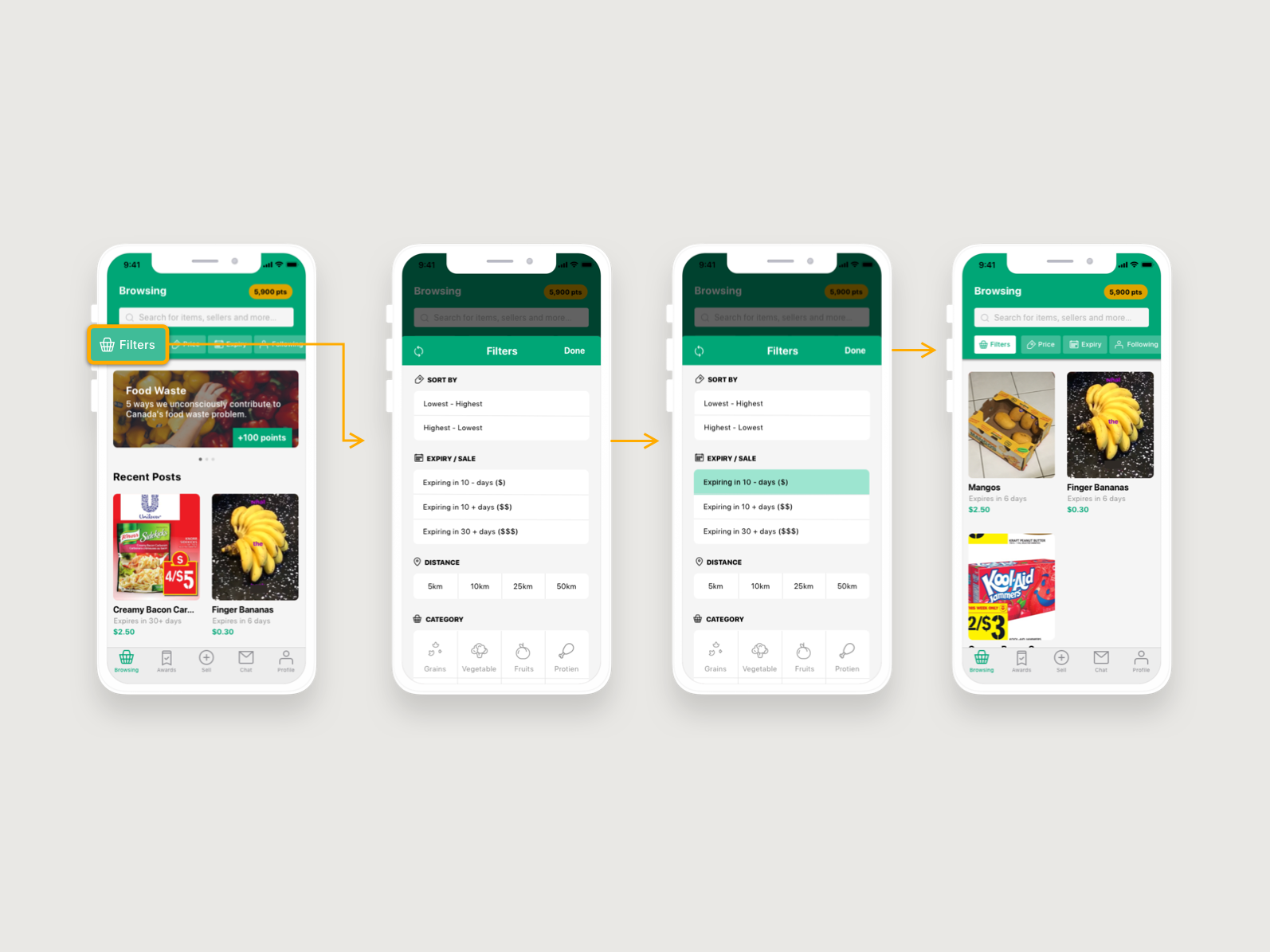 Food Waste ui ux interaction flow food waste user experience user interface