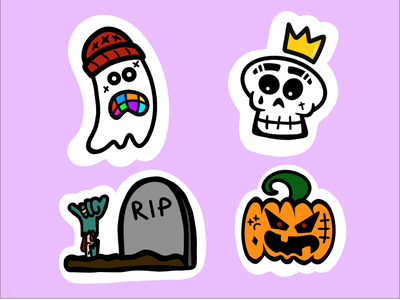 Halloween spooky boo dead horror rip tombstone grave spook skull skeleton pumpkin undead zombie scary ghost halloween design sticker design halloween sticker illustration