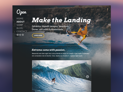 Open - Theme Template website theme template background surfing web design ios7 ui kit
