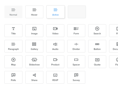 Element Icons icons weebly text image video search paragraph gallery map slideshow product share