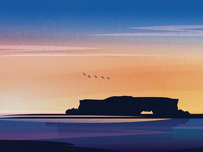 Utepils - Wreck Point, WA packaging sky sunset birds beach sea ocean landscape illustration identity brewery branding beer australia