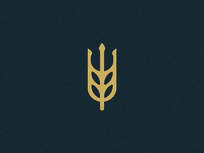Neppo's Brew Co. Brandmark wheat trident poseidon neptune brewery logo beer brewing brewery brandmark branding