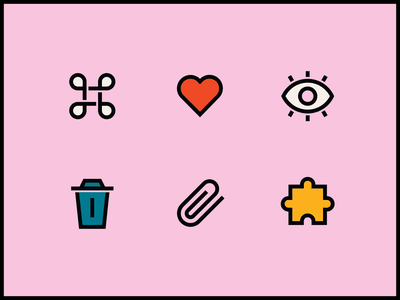 Figma Icons paperclip heart trash eye puzzle figma vector icon