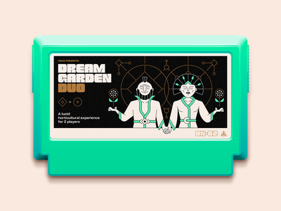 Dream Garden Duo — Famicase 2020 multiplayer dream typography type illustration icon game famicom famicase cartridge