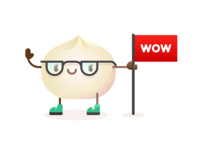 Wow Bao Mascots mascot bowie character illustration vector restaurant food bao