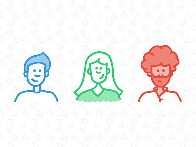 Zeke, Landon, Ashley people illustration avatar triangle fro