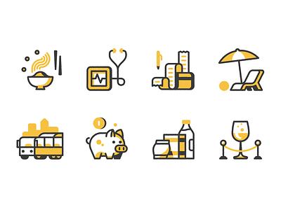 Pared Benefits illustration icon 401k save health vacation business restaurant chef food benefits perks job