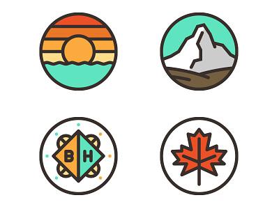 Icons icon illustration badge leaf sunset mountain