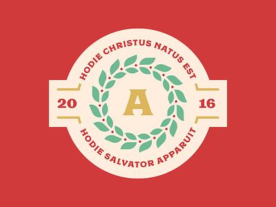Hodie Christus Natus Est moriston regina black badge laurel wreath latin tag gift christmas