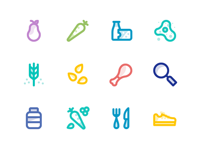 Food & Health Icons nutrition groceries icon health food