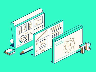 Making the MetaBlog editorial isometric illustration design ui writing blog
