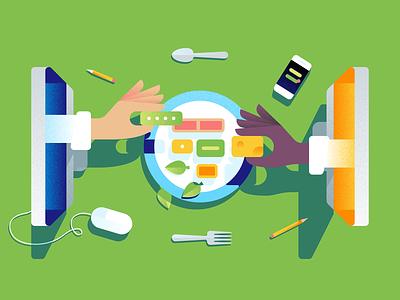 Remote Food Assembly plate illustration texture editorial blog design development work remote food