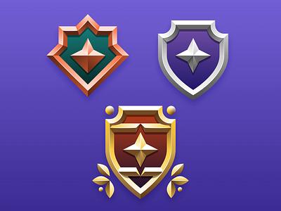 Shiny Badges bronze silver gold bevel heraldry game award rank medal crest badge