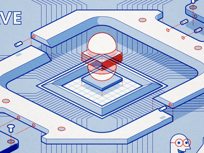 D-Wave Quantum Computing instructions illustration metalab ikea quantum computing isometric qbit superposition editorial build chip circuit