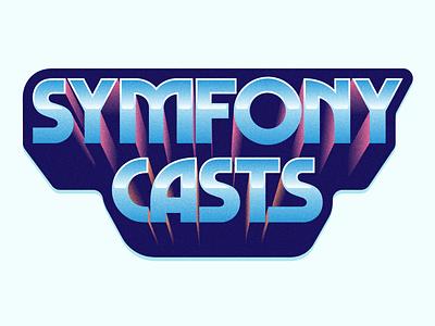 Symfony Chrome extruded 80s texture type illustration swag development symfony sticker