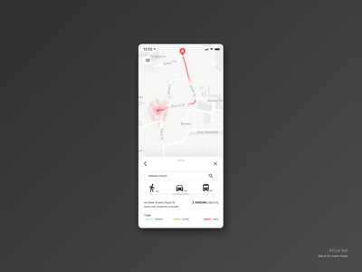 Daily UI #20: Location Tracker day 20 material design dailyuichallenge traffic car drive bus transport distance ride road gps tracking mobile app mapbox map user experience design flat mobile design dailyui