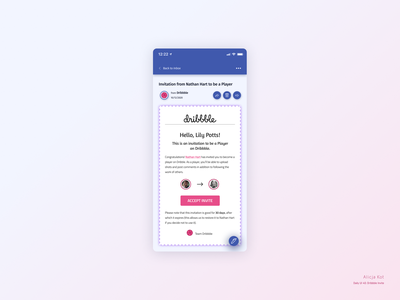 Daily UI #40: Dribbble Invite day 40 dribbble invitation cta button materialdesign material design neumorphism ui user experience design social media pink logo gradient color invitation design email app e-mail mobile app design typography usable usability dribbble popular dailyuichallenge dailyui