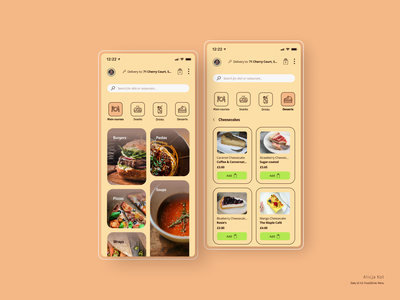 Daily UI #43: Food/Drink Menu ui design beige gradient flat design mockup user experience design restaurant app food delivery service food delivery application tiles add to bag pricing search bar dribbble popular usability mobile app design menu day 43 dailyuichallenge dailyui