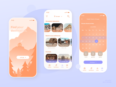 Daily UI #67: Hotel Booking web design day 67 orange calm sunset landscape purple gradient onboarding screen bottom navigation cta button uiux mobile app design calendar ui travel app ui calming blue pastel colors dribbble popular illustration art dailyuichallenge dailyui