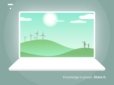 """The Thinkific """"Knowledge is power. Share it."""" challenge communication teaching learning rebound optimistic sun civilization future energy enlightenment logo design learning platform dribbble playoff inspiration desktop graphic design challenge official playoff illustration"""