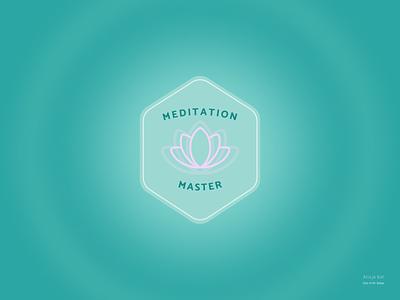 Daily UI #84: Badge blue uiux hexagonal shape award prize pink lotus flower illustration web design mobile design meditation yoga turquoise badge day 84 dailyuichallenge dailyui graphic design ui