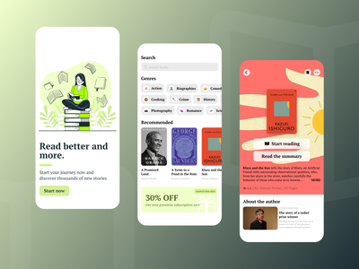 Mobile Reading App book app reading reading app uidesign iphone ios app ios design gradient mobile app design ui app adobe xd