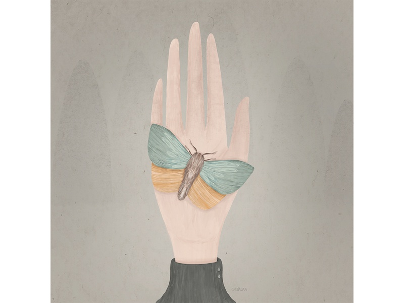 Moth on the hand cute hand moth artist draw drawing artwork art illustrator illustraion