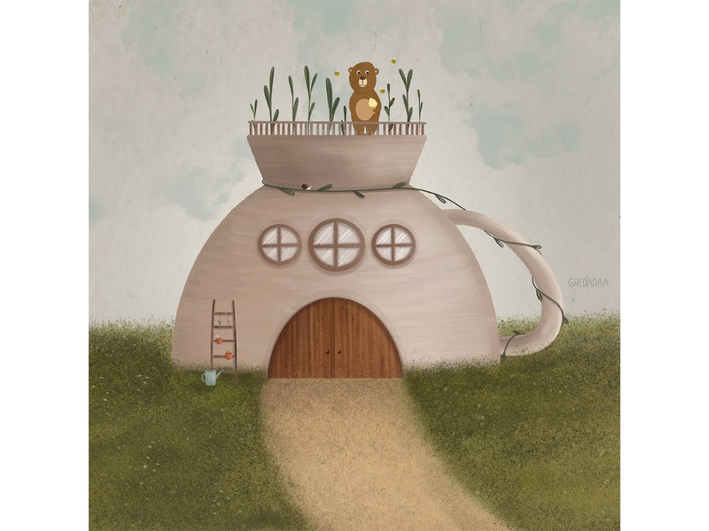 Mug - House and cute bear cute animal bear mug flower house cute art draw artwork drawing cute illustration art
