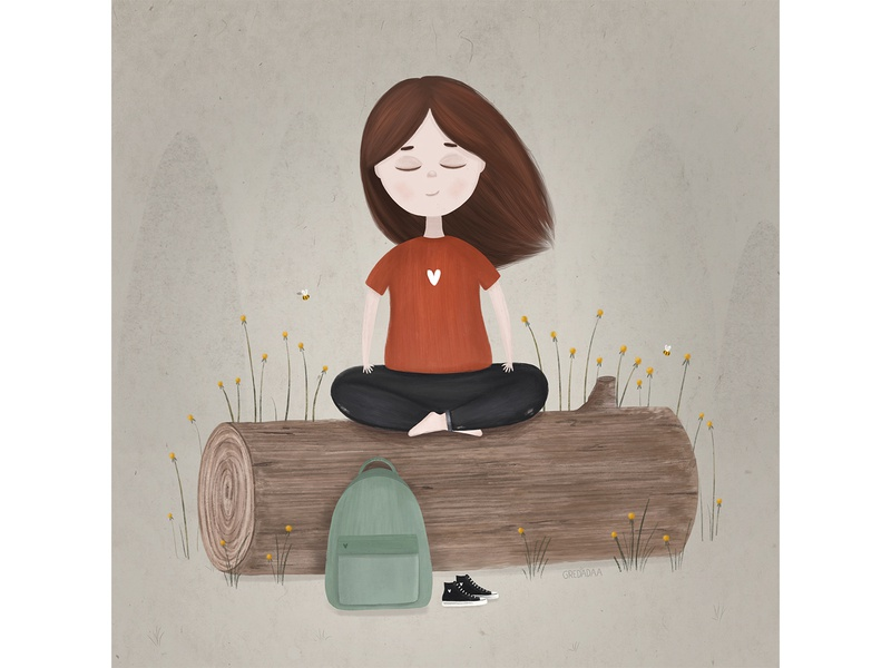 Relaxation yoga relax character girl flower cute art illustrator draw cute artist drawing artwork illustration