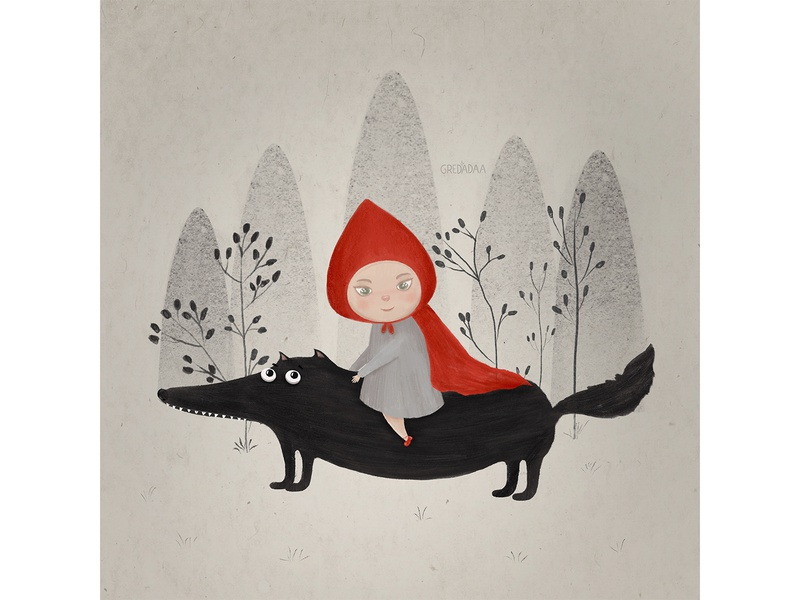 Little red riding hood and wolf wolf red character flower draw cute artist art drawing artwork illustration
