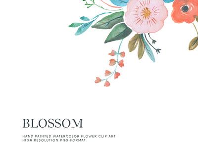 Watercolor Flower Clipart-Blossom flower watercolour art wedding png handpainted download design clipart watercolor
