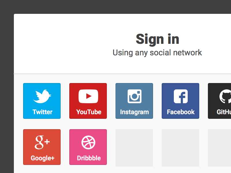 Recurrency Sign In Modal modal ui app social icons roboto