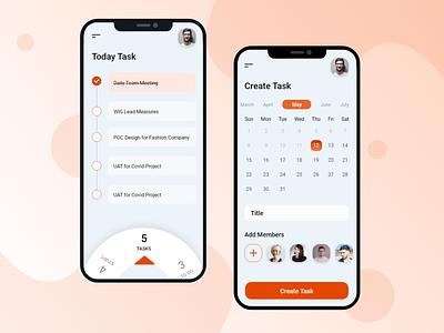 Task Creation Concept schedule calender task colors app design ux ui