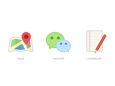 some icons notebokk wechat map icon ui