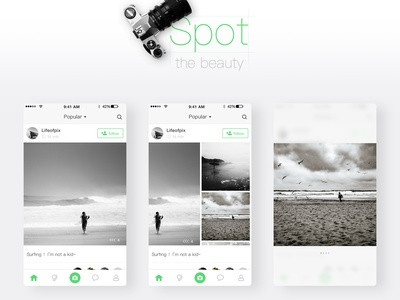 Social mobile phone applications based on photography photograph app ui