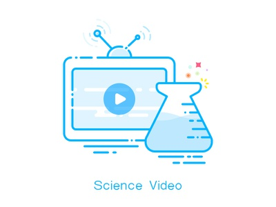 Science Video tv science illustration icon ui