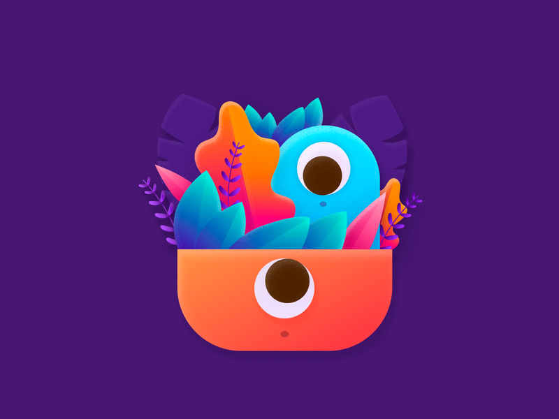 Oyo colorful flatdesign monster character shape layers vector illustration doodle cute monster cute
