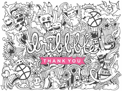 Thank you Dribbble dribbble doodle thanks drawing illustration