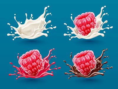 Splashes and raspberry milk illustrator food gradient mesh splash illustration vector