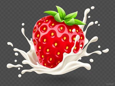 Strawberry in the yoghurt splash yoghurt icon illustration vector product milk splash fruit strawberry