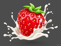 Strawberry in the yoghurt splash