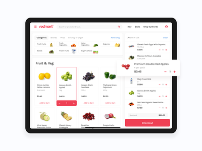 Redmart ui ux ecommerce fruit product cart grocery e-commerce