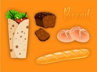 food breads design flat icon vector illustration